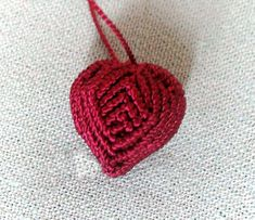Makes a great Valentine's Day gift. Give your Heart to your loved ones! Nice and Easy!  The Macrame Heart is about 1 inch long and can be used as a pendant or as a key chain.