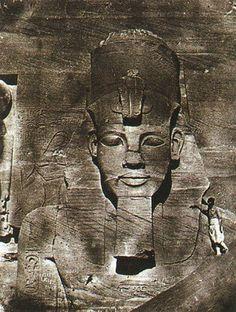 "maxime du camp ""The Colossus of Abu-Simbel, Nubia"" 1850 calotype"