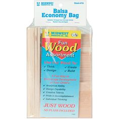 Let your child's imagination run wild with this balsa wood economy bag Craft kit is a fun way to encourage development of your child's analytical ability and talent Balsa wood is extra lightweight for