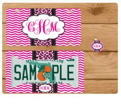 Cheetah Monogram License Plate Custom Car Tag by totebags4lesscom