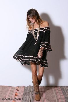 Wish I was 30 yrs. younger....maybe over leggings, ....Janis Contrast Ribbon Tunic - Love this look with the cowboy boots.