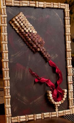 Pour Red Wine Cork Wall Art - inspiration for DIY cork project Wine Craft, Wine Cork Crafts, Wine Bottle Crafts, Diy Cork, Wine Cork Projects, Art Projects, Wine Cork Art, Cork Wall, Cork Frame
