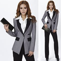 New 2013 Autumn Winter Fashion Work Wear Women's Business Set for Ladies Pants Suits Gray Fashion Slim Formal free shipping $48.60