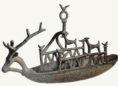 Navicella nuragica. Bronze Age Sardinia. Italy. Boat.