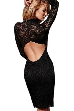 Black Lace Long Sleeve Backless Bodycon Dress US$22.58