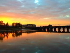 Gorgeous sunset over the Long Bridge, Barnstaple, north Devon 19th October 2012.  C/o Marie Sjostrom & Twitter / MCSjostromPhoto: