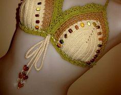 Crochet Bikini White Monokini Swimsuit by MyCrochetTreasures
