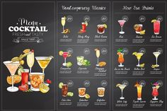 Drawing horisontal cocktail menu - Illustrations
