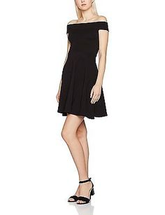 12, Multicoloured (Black), Dorothy Perkins Women's Off the Shoulder Bardot Dress