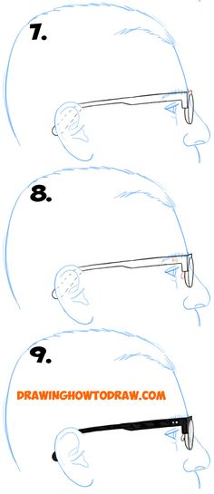 how to draw glasses side view