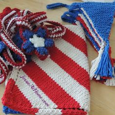 Patriotic-CAL-KAL-WiPs - knit and crochet along for outdoor party decorations by Jessie at Home