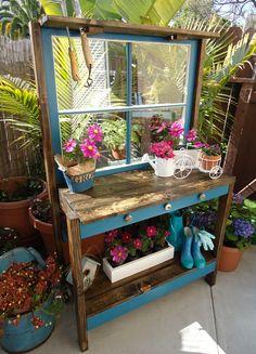 SOLD - Vintage Window Potting Table