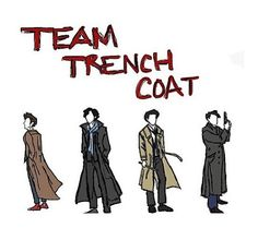 Team Trench Coat ~ Ten, Sherlock, Cas, and Captain Jack Harkness!!!! <<< how does one draw cartoons to be hot even WITHOUT FRIKIN FACES