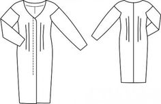 Wide V Neck Dresspattern flat line drawing www.sewingavenue.com