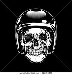 skull wearing vintage motorcycle helmet