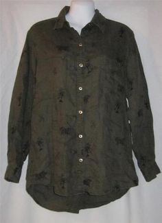 Chico's Size 1 Shirt NEW Womens Small Shirt NEW Ladies Size 8 Top Linen Olive ~~  $39.99