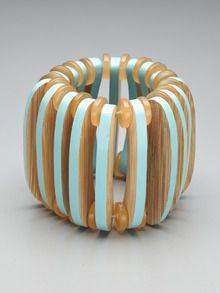 love marni.  Blue Wood & Bead Stretch Bracelet