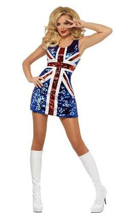 Sexy Ginger Power Union Jack Costume Dress Adult British Flag
