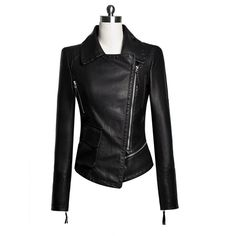 2012 Fall and Winter New Arrivals Locomotive Short Style Slim PU Leather Jacket Black