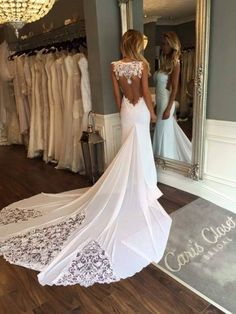 mermaid wedding dresses with court train, special open back wedding gowns special lace, #wedding