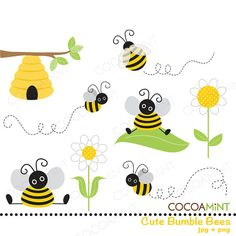 Cute Bumble Bee Clip Art by cocoamint on Etsy, $5.00