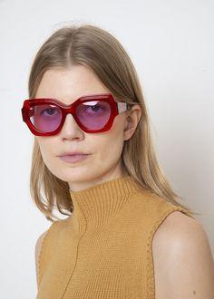 a3b6e434b2 Ganni Square Sunglasses in Red. The Frankie Shop