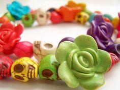Colorful Skull Necklace,  Day of the Dead Jewelry, Bright Colors, Sugar Skulls & Flowers, Dia de Los Muertos - Flores