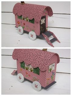 ... deuxième campement ! Camping Vintage, Gypsy Wagon, Fabric Boxes, Wheelbarrow, Origami, Creations, Patches, Scrap, Miniatures