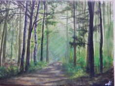 Acryl on canvas https://www.instagram.com/mariana_volfova/ #art #arcylic #painting #forest #trees #canvas