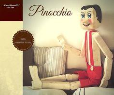 Pinocchio di legno originale 100% MADE IN ITALY burattino vintage in legno di pino esclusiva Macchiavelli Arte Legno (Cod. BUR001)