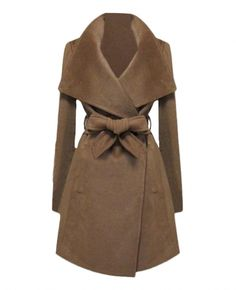 Solid-tone Oversized-lapels Belted Coat