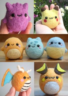 Tiny felt Pokemon, I love them!!!