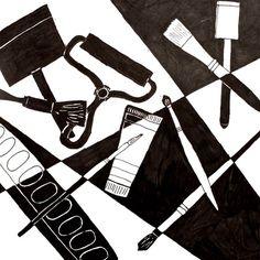 black and white art tools