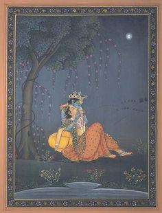 Radha Krishna in Moonlit Light, Hindu Watercolor on PaperArtist: Kailash Raj Pichwai Paintings, Indian Paintings, Krishna Painting, Madhubani Painting, Oriental, Señor Krishna, Rajasthani Painting, Radha Krishna Pictures, Indian Folk Art