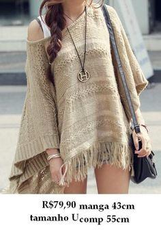 Suweter casaco feminino franjas importado