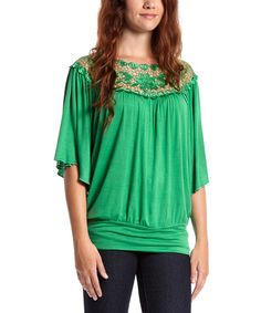 Another great find on #zulily! Kelly Green Crochet Blouson Top by Simply Irresistible #zulilyfinds