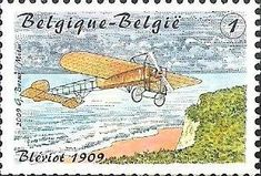 belgian stamps From Blériot till De Winne.1st flight over the chanel by Blériot