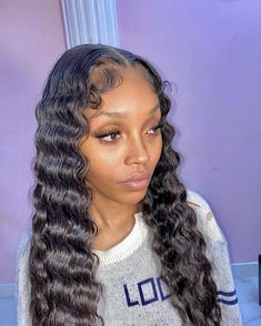 Black Hairstyles With Weave, Weave Hairstyles, Pretty Hairstyles, Frontal Hairstyles, Baddie Hairstyles, Hair Inspo, Hair Inspiration, Reverse Ombre Hair, Curly Hair Styles
