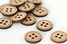 Stitchable botones de madera Set de 6