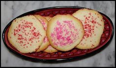 I saw the recipe for these cookies on the side of the potato starch box. They just couldn't be any easier. They are thin, delicate cookies...