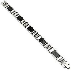 SPIKES 316L Stainless Steel Carbon Fiber Link Bracelet