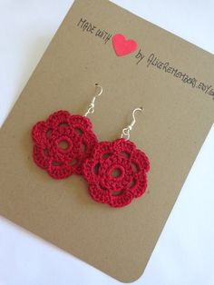 VALENTINE Flower Crochet Earrings gift for her / by AliceRemembers, $15.00