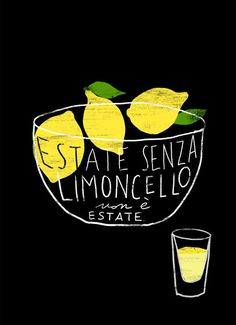 Estate senza limoncello non è estate. Summer without limoncello is not summer. I love it because of it's gorgeous not sour/not bitter lemony taste and that gorgeous yellow color. Art And Illustration, Gravure Illustration, Food Illustrations, Graphic Design Illustration, Graphic Art, Vegetable Illustration, Black Poster, Pinterest Instagram, Herb Lubalin