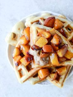 Vanilla Yeasted Waffles with Roasted Peach Maple Syrup | howsweeteats.com
