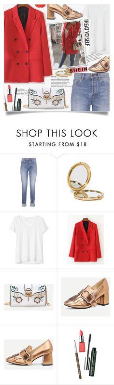 """""""Shein Red Blazer Style"""" by lillili25 ❤ liked on Polyvore featuring Yves Saint Laurent, Odeme, Gap, ASAP, WithChic and Clinique"""