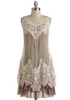 Dreams and Sugar Dress by Ryu - Lace, Ruffles, Tiered, Daytime Party, Sleeveless, Tan, Tan / Cream, Tent / Trapeze