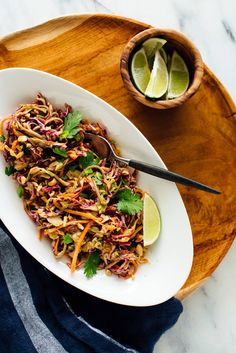 This slaw features cabbage, carrots, tender soba noodles and an addictive peanut sauce! It's an easy, satisfying meal. #sobanoodles #slawrecipe #healthyslaw #veganrecipe #cookieandkate Easy Vegetarian Dinner, Vegan Dinner Recipes, Vegan Dinners, Vegetarian Recipes, Healthy Recipes, Healthy Meals, West African Peanut Soup, Ginger Peanut Sauce, Vegan Coleslaw