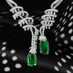 @chatilajewels. Sweet as candy. Zero calories. Baroque emerald drop necklace with moving diamond briolettes. Emeralds, 77.87 carats.#chatila #chatilajewels #emeralds
