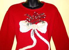 White ribbon tacky sweater