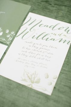 LOVE THIS WEDDING INVITATION. The softest prettiest shade of green - with modern yet romantic calligraphy. On SMP:  http://www.StyleMePretty.com/2014/03/17/ireland-inspiration-shoot/ Photography: Amanda Wilcher | Invitation Suite: Lily Loves